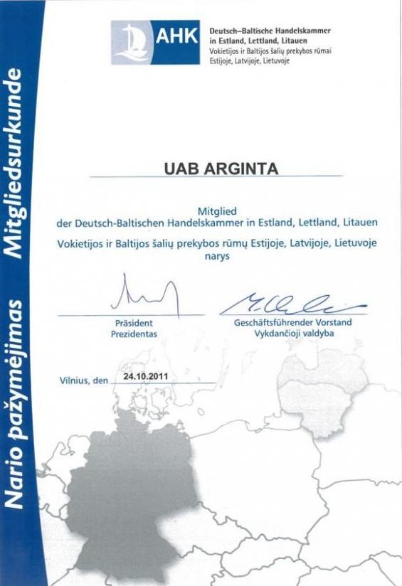 """UAB """"Arginta"""" – Vokietijos ir Baltijos šalių prekybos rūmų Estijoje, Latvijoje, Lietuvoje narė"""